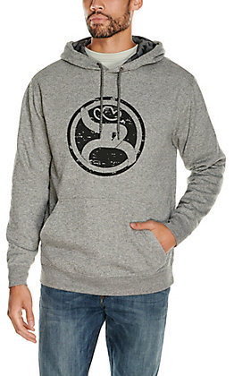 HOOey Men's Roughy 2.0 Grey with Black Logo and Camo Lining Hooded Sweatshirt