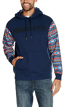HOOey Men's Roughy Lock Up Navy with Aztec Sleeves Logo Hooded Sweatshirt