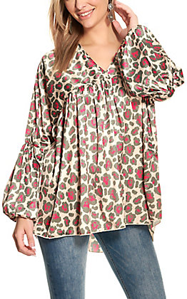 Crazy Train Beige and Pink Leopard Print Bubble Sleeve Top