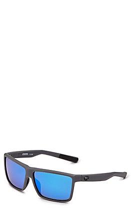 Costa Rinconcito Matte Gray Blue Mirror Sunglasses
