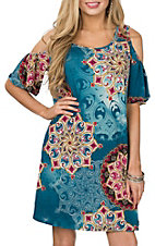 James C Women's Teal & Magenta Cold Shoulder Bell Sleeve Dress