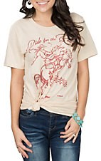 XOXO Art & Co. Women's Soft Cream Ride For Brands S/S T-Shirt