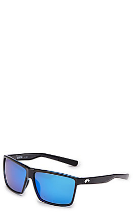 Costa Rincon Shiny Black Blue Mirror Sunglasses