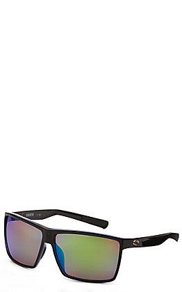 Costa Rincon Shiny Black Frame with Green Mirror Polarized Lens Sunglasses