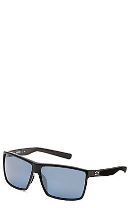 Costa Rincon Shiny Black Frame with Grey Silver Mirror Polarized Lens Sunglasses