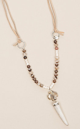 Laminin Riverbend Camel Leather with Agate Beads Necklace