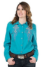 Cowgirl Legend Women's Teal with Pink Embroidery Long Sleeve Western Snap Shirt