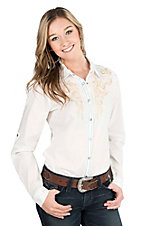 Cowgirl Legend Women's White with Green and Pink Embroidery Long Sleeve Western Snap Shirt