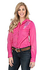 Cowgirl Legend Women's Pink with Embroidery Long Sleeve Western Snap Shirt
