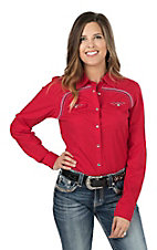 Cowgirl Legend Women''s Red with Embroidered Detail Long Sleeve Western Snap Shirt