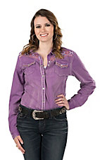 Cowgirl Legend Women's Purple with Peach Aztec Embroidery Long Sleeve Western Snap Shirt