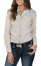 Cowgirl Legend Women's Cream Washed with Aztec Embroidery and Stones L/S Western Snap Shirt