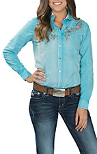 Cowgirl Legend Women's Blue Washed with Embroidery and Stones L/S Western Snap Shirt