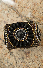 Pannee Jet Black, Hematite & Gold Beads Chocolate Rope Cuff Bracelet