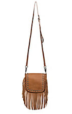 Montana West Women's Brown Cross Body with Studs and Fringe Charging Power Bank Handbag