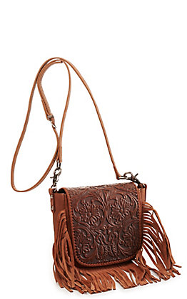 Montana West Brown Tooled Leather with Fringe Crossbody Bag
