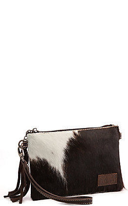 Montana West Coffee Brown Hair-On Cowhide Leather Clutch / Crossbody Purse