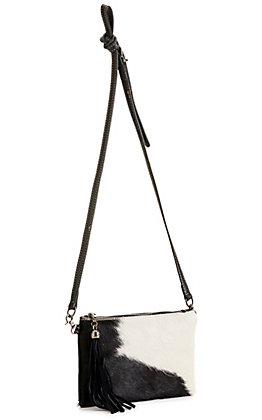 Montana West Black and White Hair-on Tassel Leather Clutch / Crossbody Purse