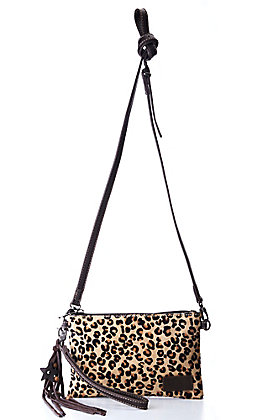 Montana West Brown Hair-On Leopard Leather Clutch / Crossbody Purse