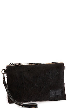 Montana West Black with Black Hair-On Cowhide Leather Clutch / Crossbody Purse