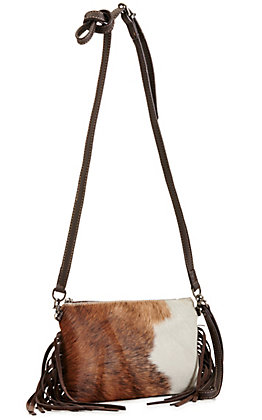 Montana West Copper and White Hair-on Fringe Leather Clutch / Crossbody Purse
