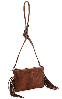 Montana West Coffee Hair-on Cowhide Clutch/Crossbody Purse