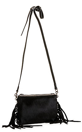 Montana West Black Hair-on Cowhide with Fringe Leather Clutch / Crossbody Purse