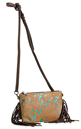 Montana West Burn Out Leather and Metallic Teal Highlights Fringe Leather Clutch / Crossbody Purse