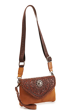 Montana West Brown Leather Tooled Mandala Clutch/Crossbody Bag