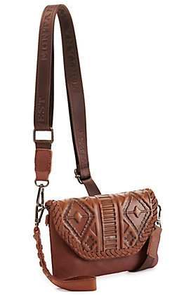 Montana West Brown Tooled Leather Clutch/Crossbody Bag