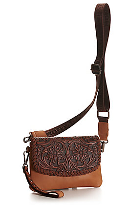 Montana West Tan with Brown Tooling Leather Clutch / Crossbody Purse