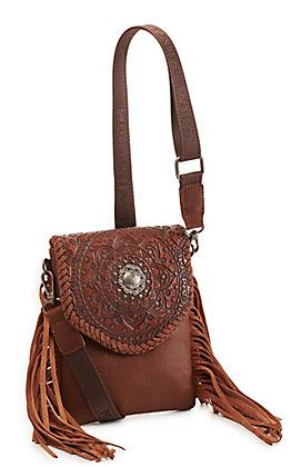 Montana West Brown Tooled Leather Mandala Crossbody Bag