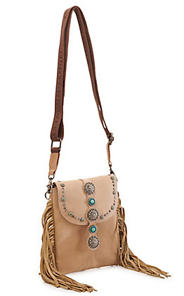 Montana West Tan with Conchos and Fringe Crossbody Bag