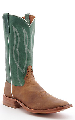 Rios of Mercedes Men's Rough Rider Dune Brown and Jade Cowhide Square Toe Western Boot
