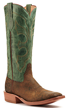 Rios of Mercedes Men's Safari Giraffe Rust and Jade Square Toe Western Boot