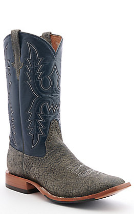 Rios of Mercedes Men's Safari Giraffe Granite & Blue Western Square Toe Boots
