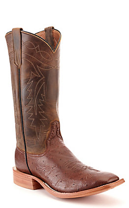 Rios of Mercedes Men's Kango Tobac and Golden Hillbilly Mad Dog Smooth Ostrich Square Toe Western Boots