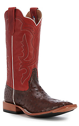 Rios of Mercedes Men's Kango Tobacco Full Quill Ostrich and Red Fools Goat Top Wide Square Toe Exotic Boot