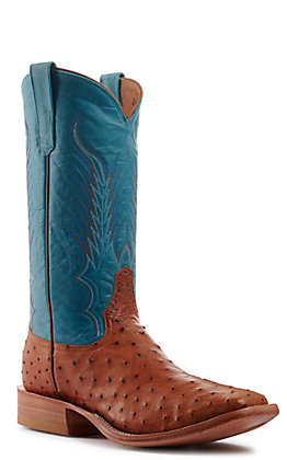 Rios of Mercedes Men's Cognac Full Quill Ostrich and Aqua Wide Square Toe Exotic Western Boots