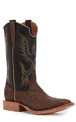 Rios of Mercedes Men's Chocolate Nubuck Alligator and Black Remuda Wide Square Toe Exotic Western Boot