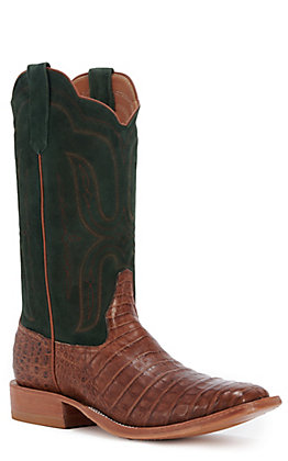 Rios of Mercedes Men's Post Oak Caiman and Sueded Kidskin Wide Square Toe Exotic Western Boot