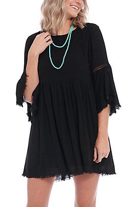 Remixmess Women's Black Bell Sleeve Fashion Dress