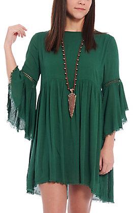Remixmess Women's Green Bell Sleeve Fashion Dress