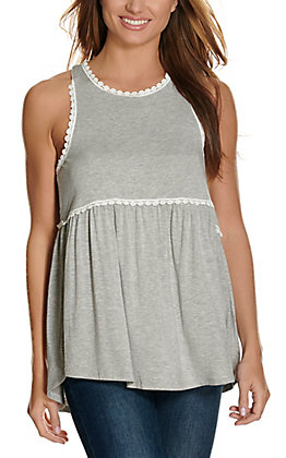 Remixmess Women's Grey with White Lace Trim Sleeveless Babydoll Fashion Tank Top