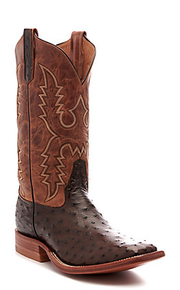 Rios of Mercedes Men's Nicotine and Tan Full Quill Ostrich Square Toe Exotic Western Boot