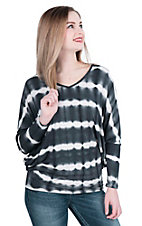 James C Women's Black and White Tie Dye Long Sleeve Dolman Style Casual Knit Shirt