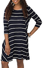 James C Women's Navy and White Striped Jersey Knit 3/4 Sleeve Dress