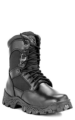 Rocky Men's Alpha Force Black Round Toe Lace Up Work Boot