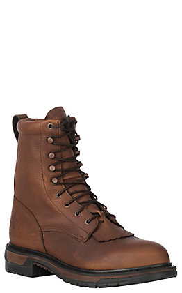Rocky Men's Original Ride Tan Waterproof Round Toe Lace Up Work Boot