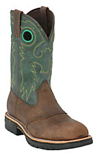 Rocky Men's Dark Distressed Brown w/ Green Top Square Steel Toe Work Western Boots